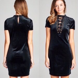 Black Velvet Lace-Up Body Con Dress